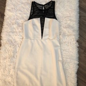 White and black dress.